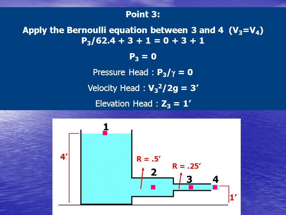 Point 3: Apply the Bernoulli equation between 3 and 4 (V3=V4) P3/62.4 + 3 + 1 = 0 + 3 + 1.