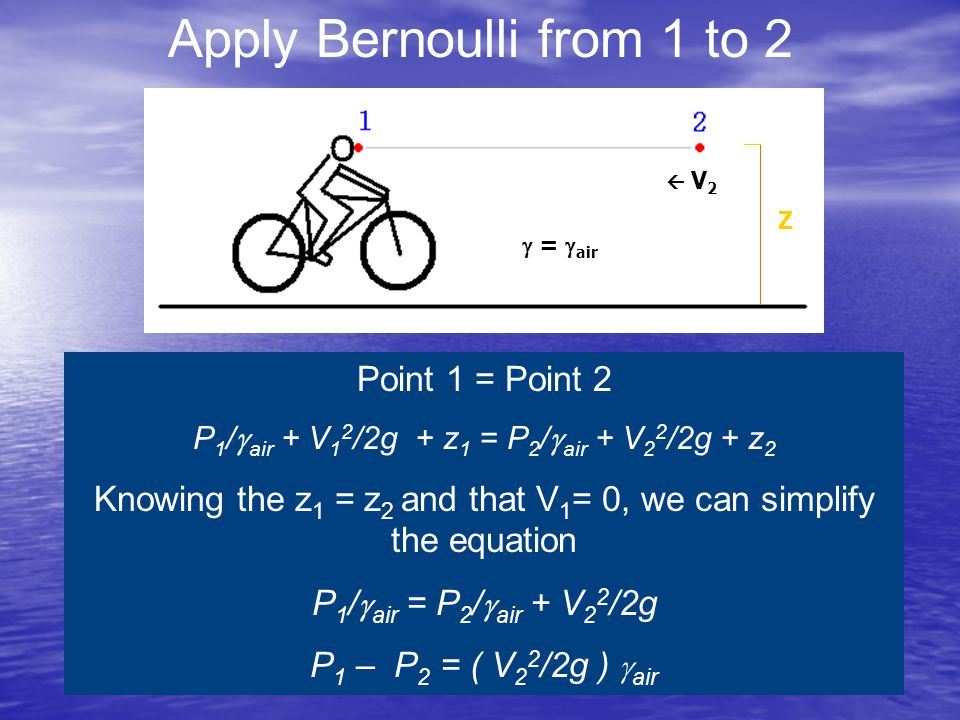 Apply Bernoulli from 1 to 2