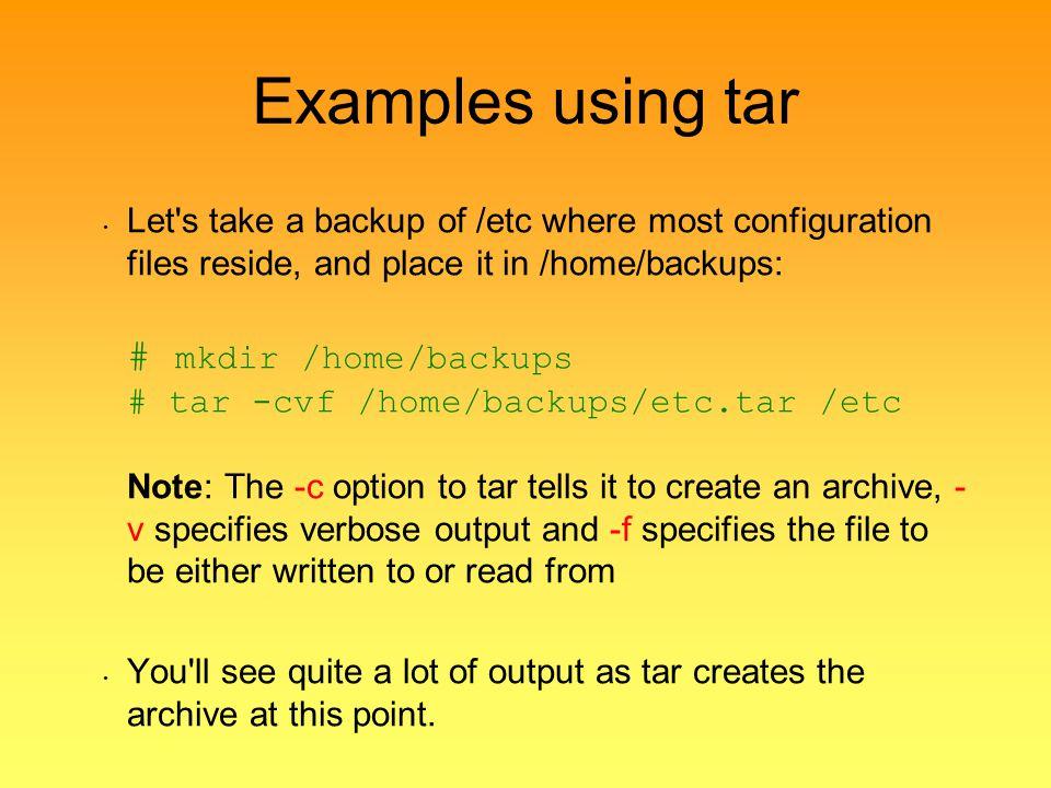 Examples using tar