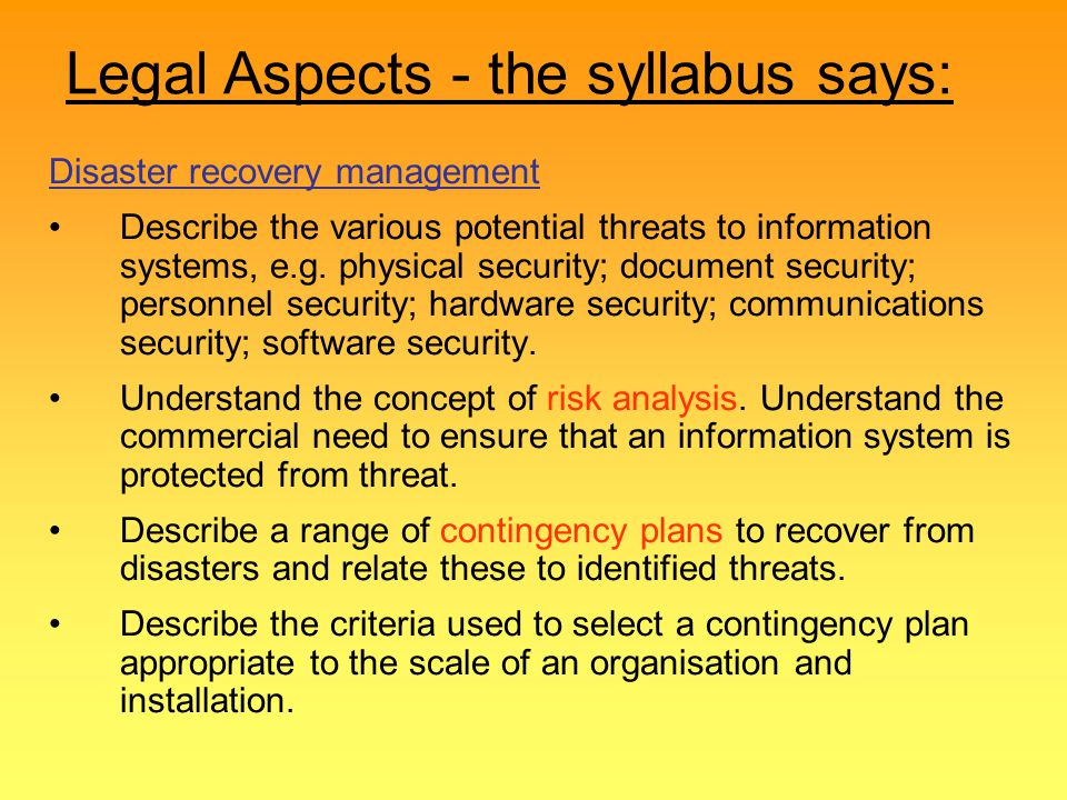 Legal Aspects - the syllabus says: