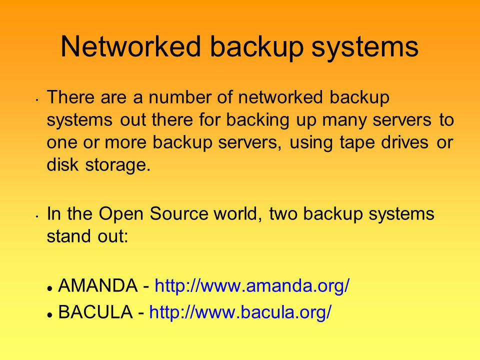 Networked backup systems
