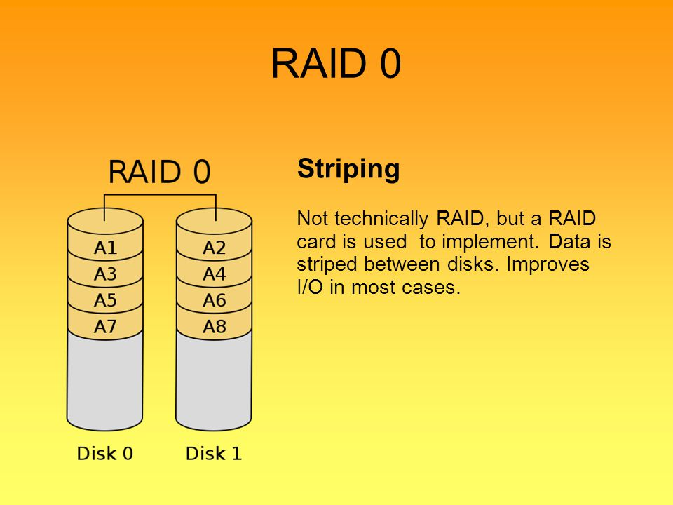 RAID 0 Striping. Not technically RAID, but a RAID card is used to implement.