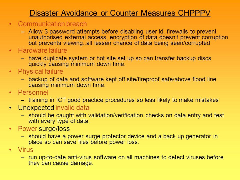 Disaster Avoidance or Counter Measures CHPPPV