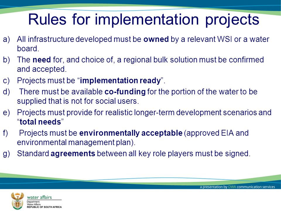 Rules for implementation projects