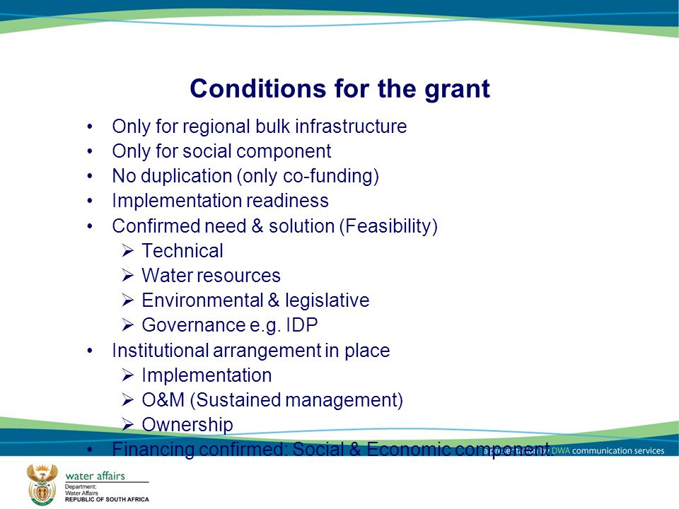 Conditions for the grant