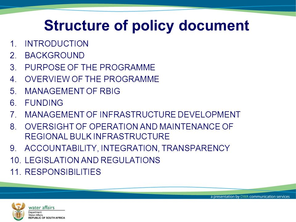 Structure of policy document