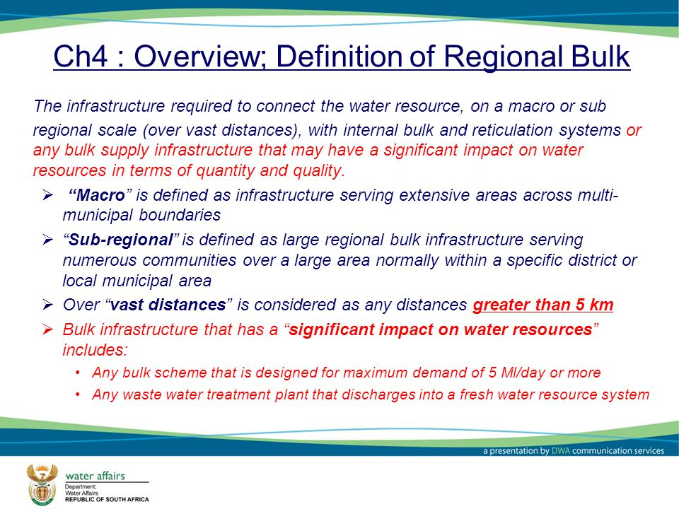 Ch4 : Overview; Definition of Regional Bulk