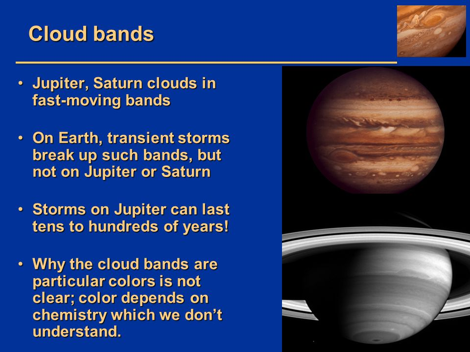 Cloud bands Jupiter, Saturn clouds in fast-moving bands