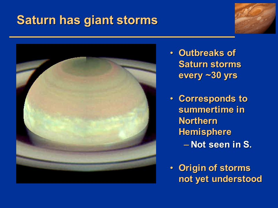 Saturn has giant storms