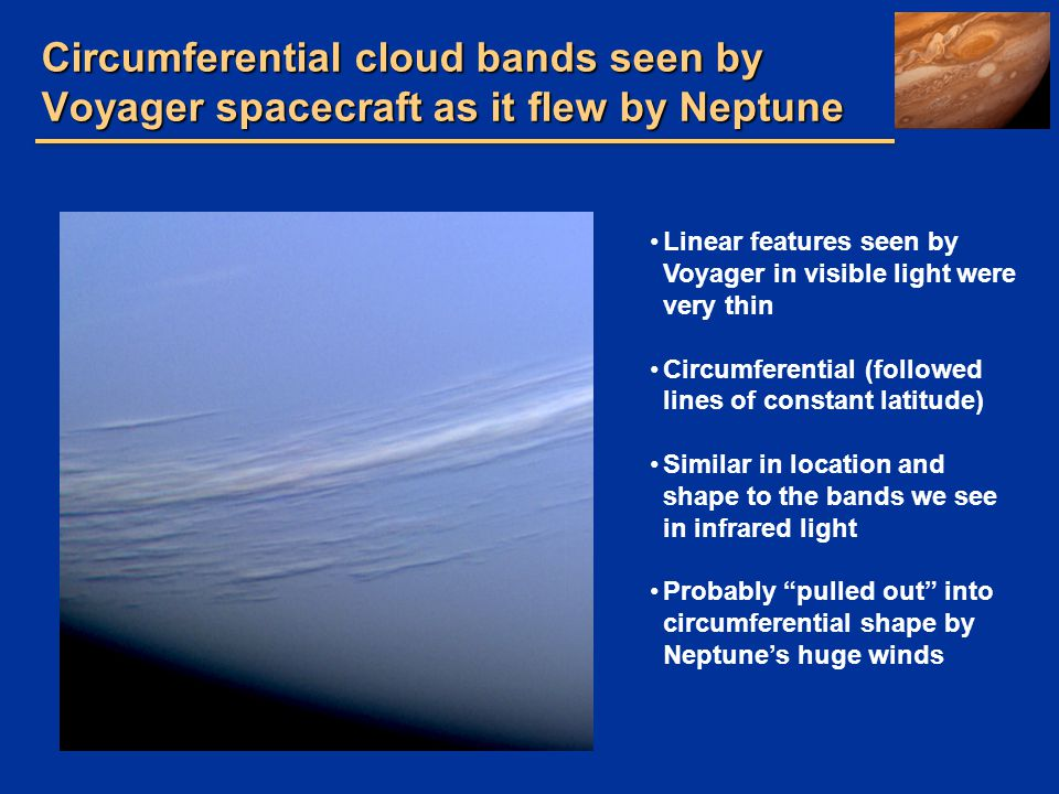 Circumferential cloud bands seen by Voyager spacecraft as it flew by Neptune