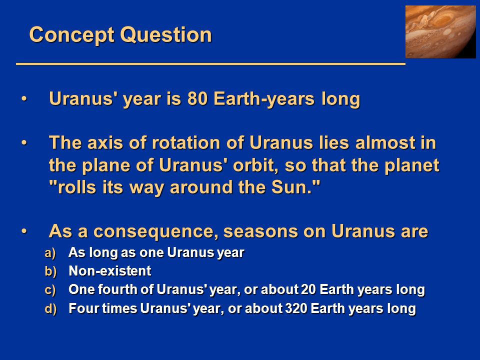 Concept Question Uranus year is 80 Earth-years long