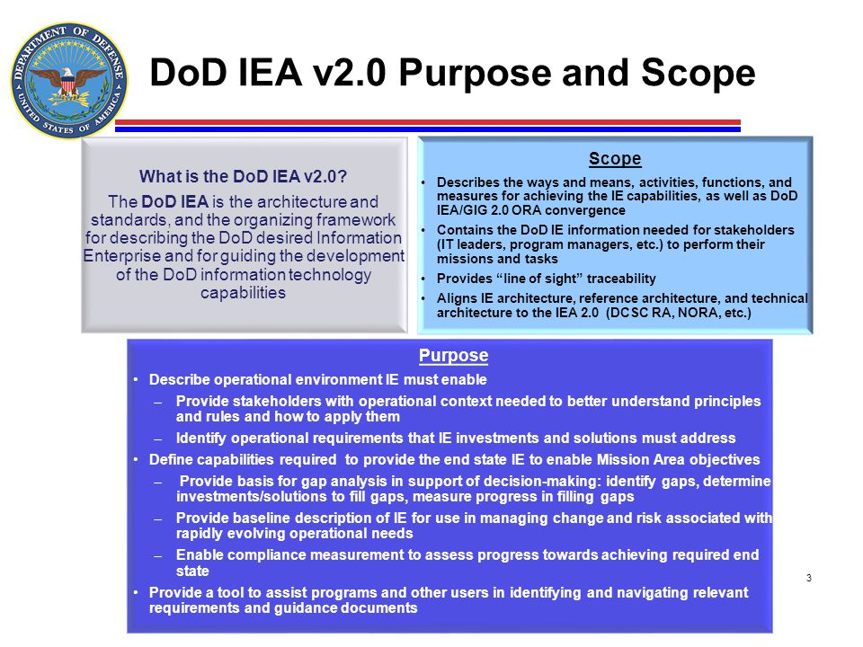 DoD IEA v2.0 Purpose and Scope