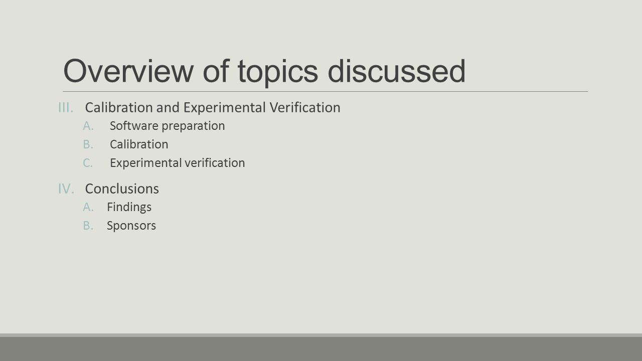 Overview of topics discussed