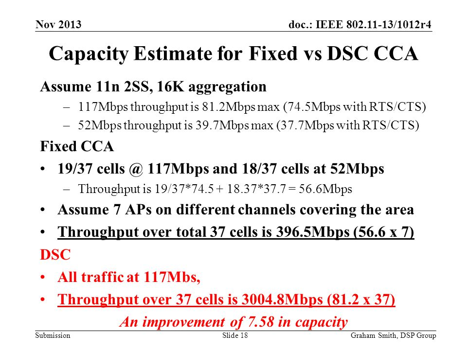 Capacity Estimate for Fixed vs DSC CCA