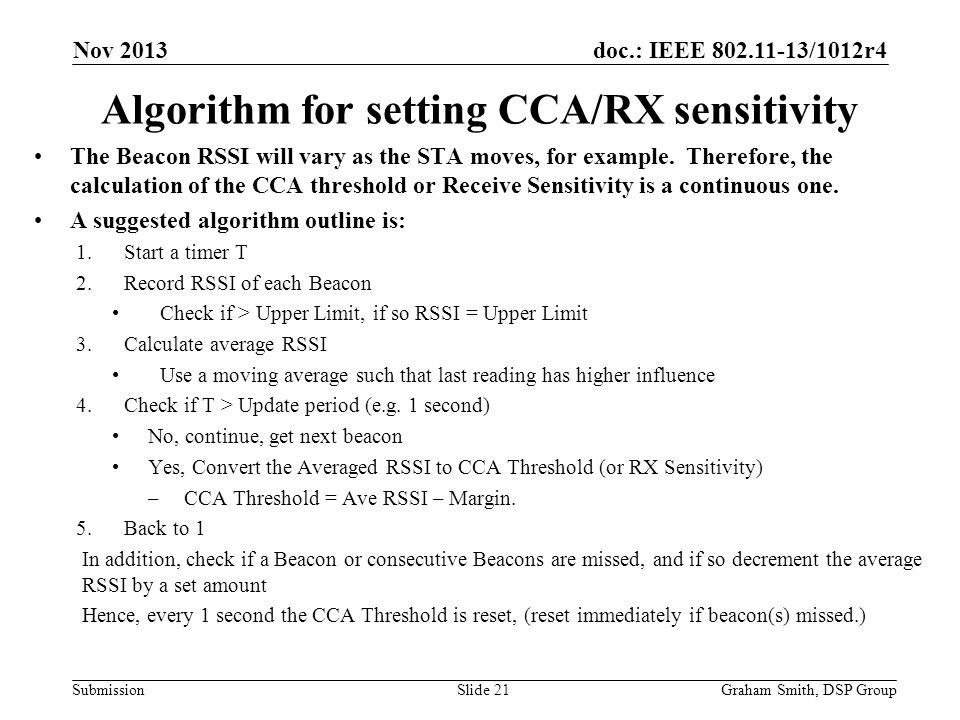 Algorithm for setting CCA/RX sensitivity