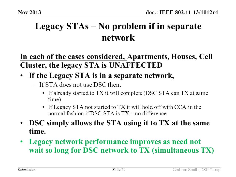 Legacy STAs – No problem if in separate network