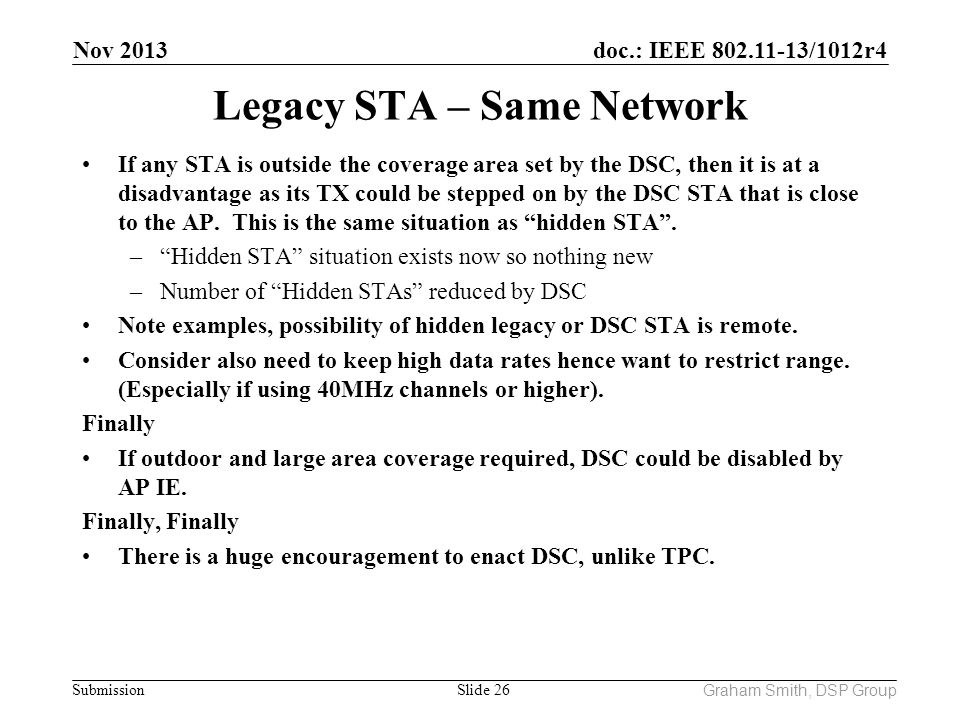 Legacy STA – Same Network