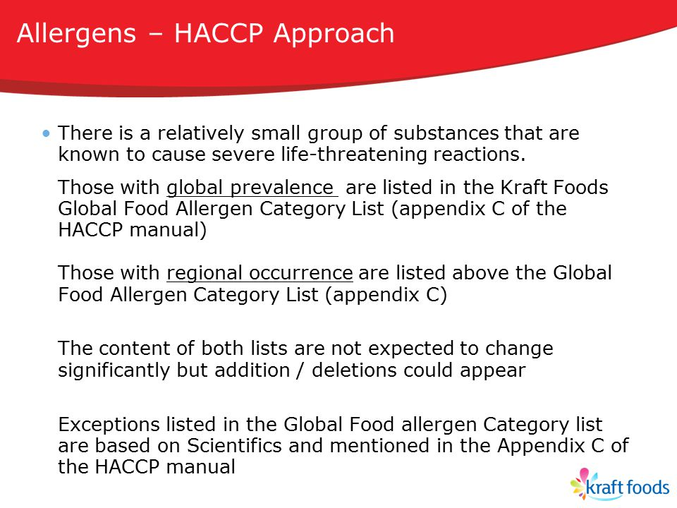 Allergens – HACCP Approach