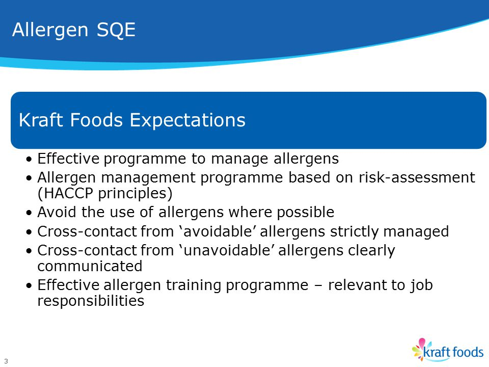 Allergen SQE Kraft Foods Expectations