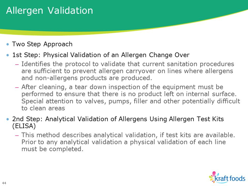 Allergen Validation Two Step Approach