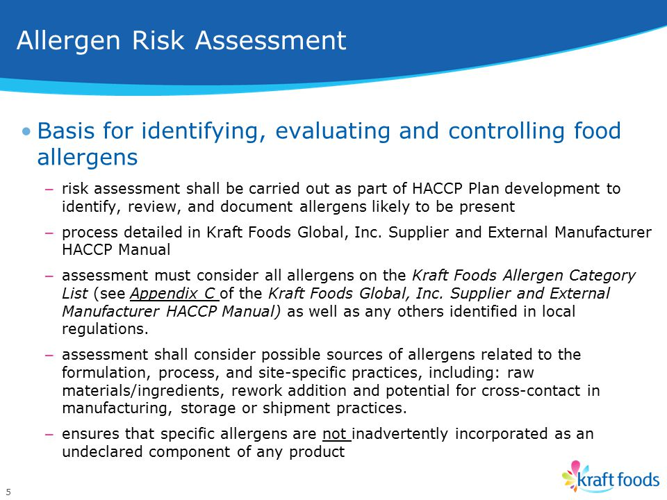 Allergen Risk Assessment