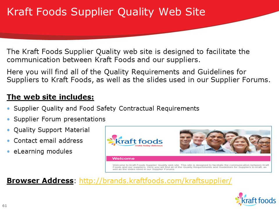Kraft Foods Supplier Quality Web Site