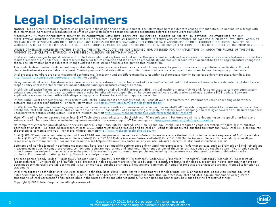 Legal Disclaimers