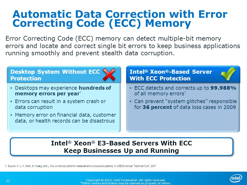 Automatic Data Correction with Error Correcting Code (ECC) Memory
