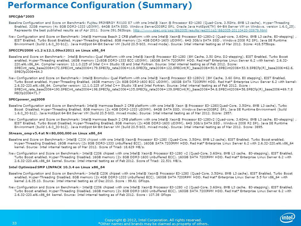 Performance Configuration (Summary)