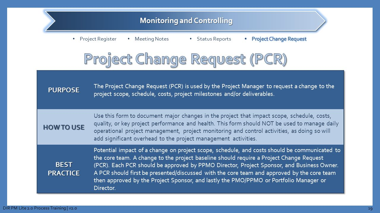 Project Change Request (PCR)