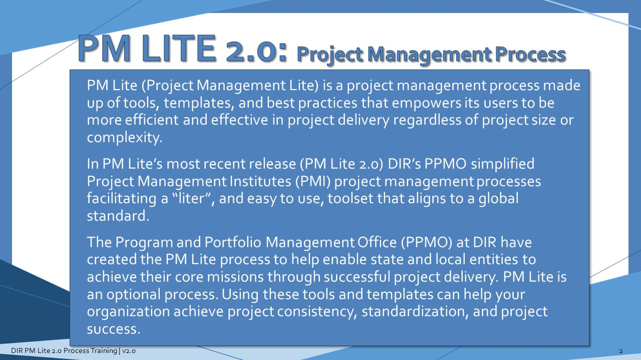 PM LITE 2.0: Project Management Process