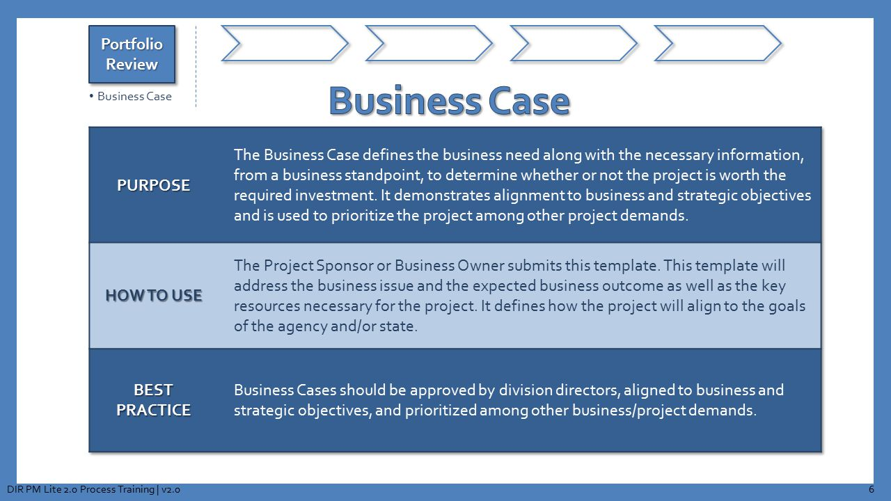 Business Case Portfolio Review PURPOSE