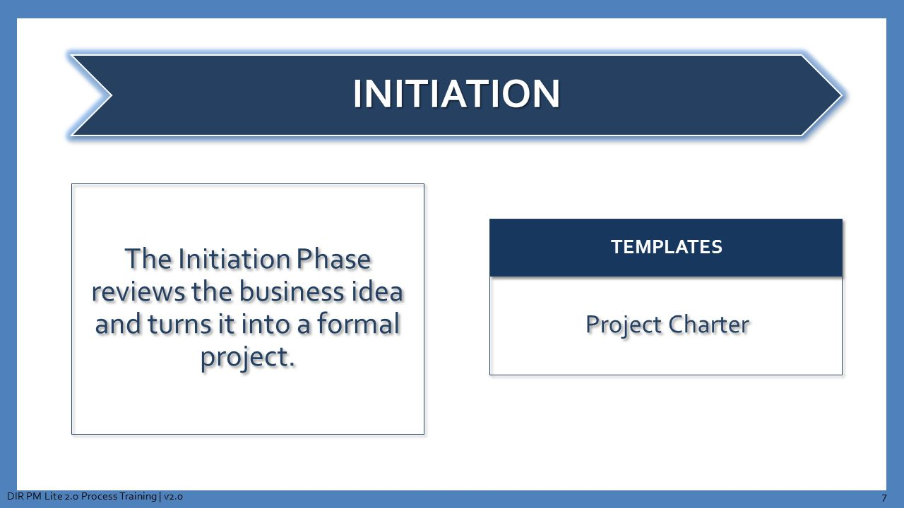 INITIATION The Initiation Phase reviews the business idea and turns it into a formal project.