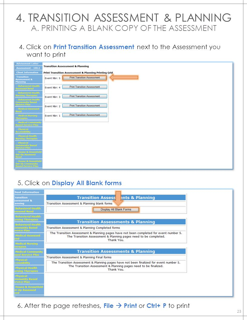 4. TRANSITION ASSESSMENT & PLANNING A