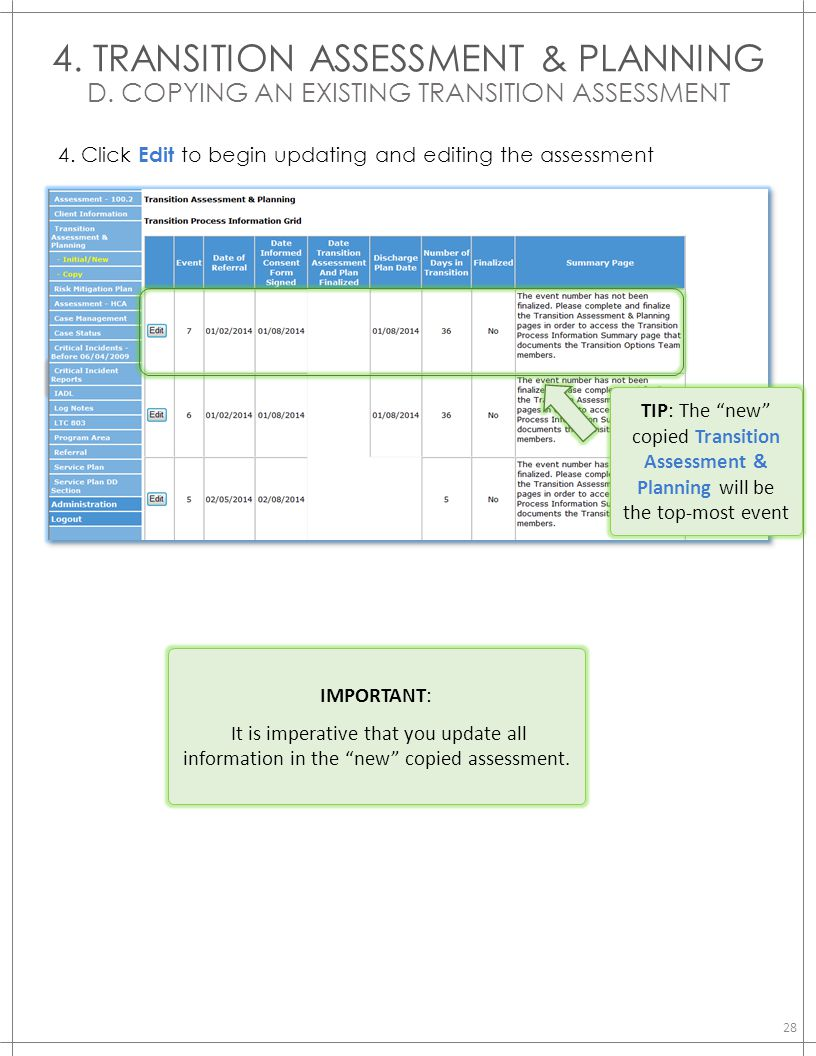 4. TRANSITION ASSESSMENT & PLANNING D