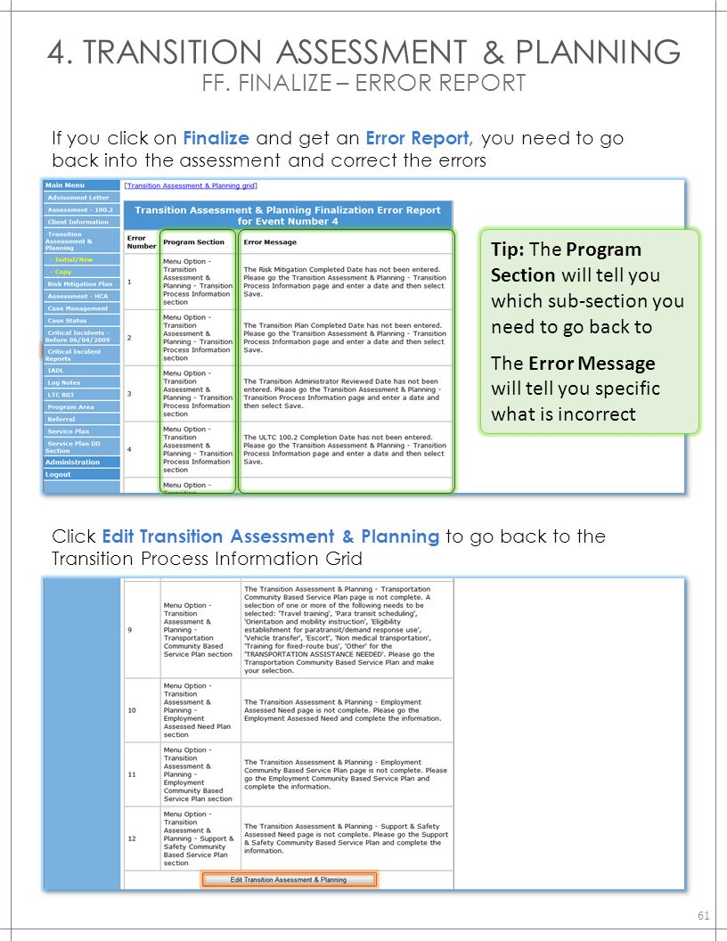 4. TRANSITION ASSESSMENT & PLANNING FF. FINALIZE – ERROR REPORT