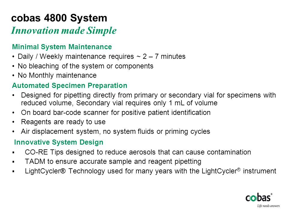 cobas 4800 System Innovation made Simple