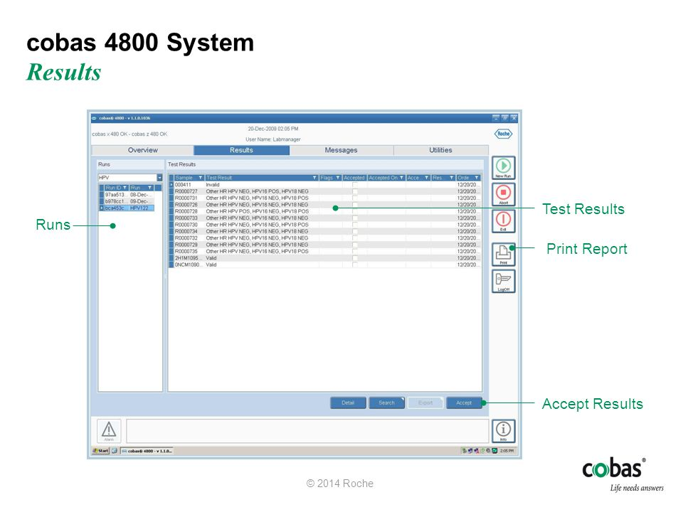 cobas 4800 System Results Test Results Runs Print Report