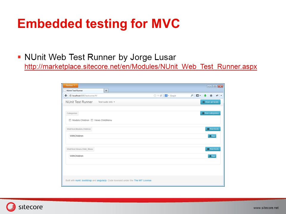 Embedded testing for MVC