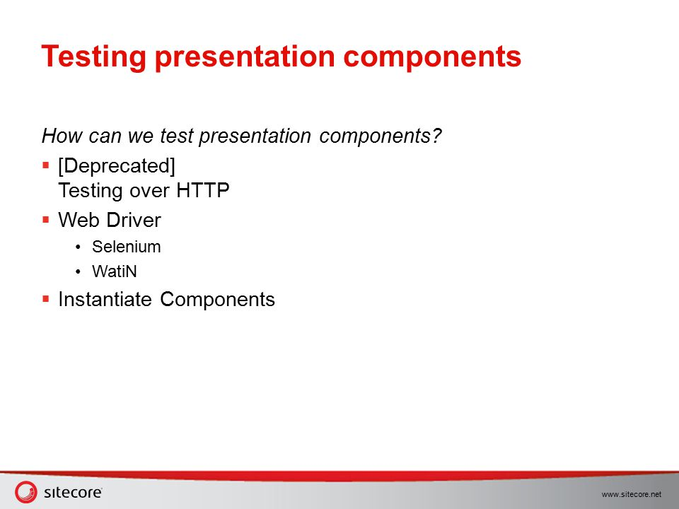 Testing presentation components