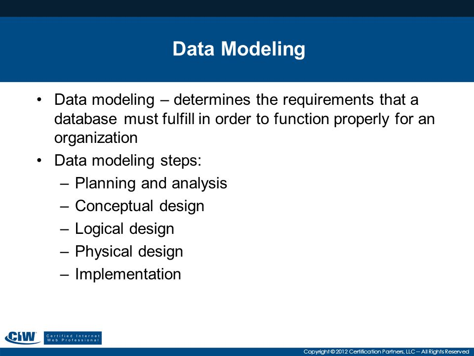 Data Modeling Data modeling – determines the requirements that a database must fulfill in order to function properly for an organization.