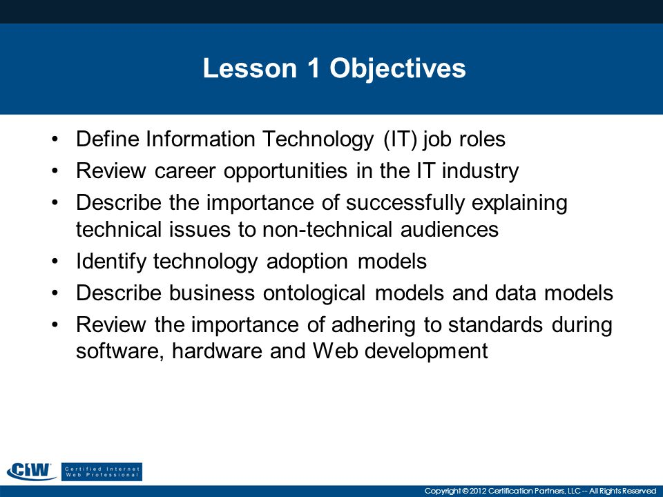 Lesson 1 Objectives Define Information Technology (IT) job roles
