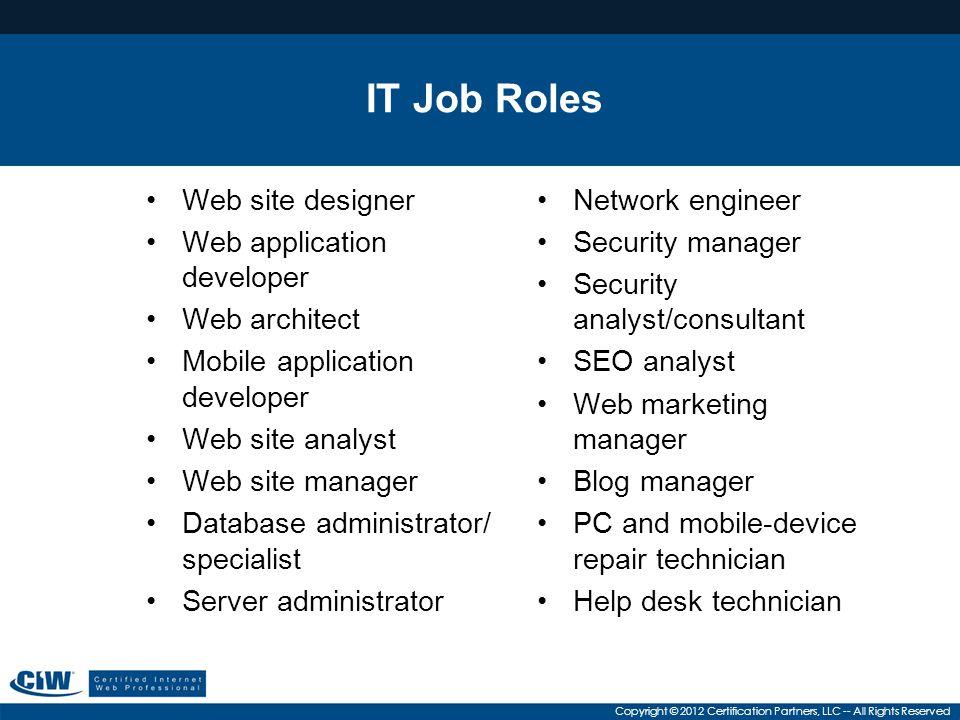 IT Job Roles Web site designer Web application developer Web architect