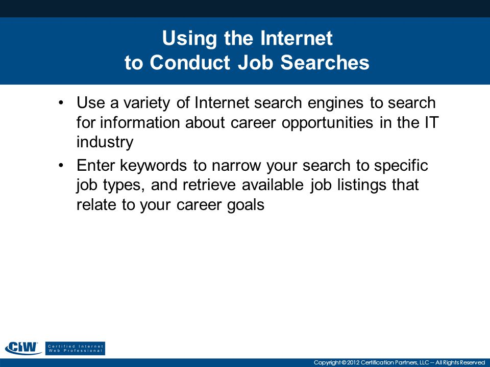 Using the Internet to Conduct Job Searches