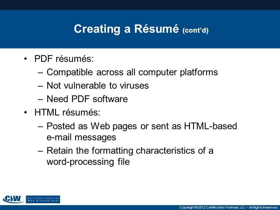 Creating a Résumé (cont'd)