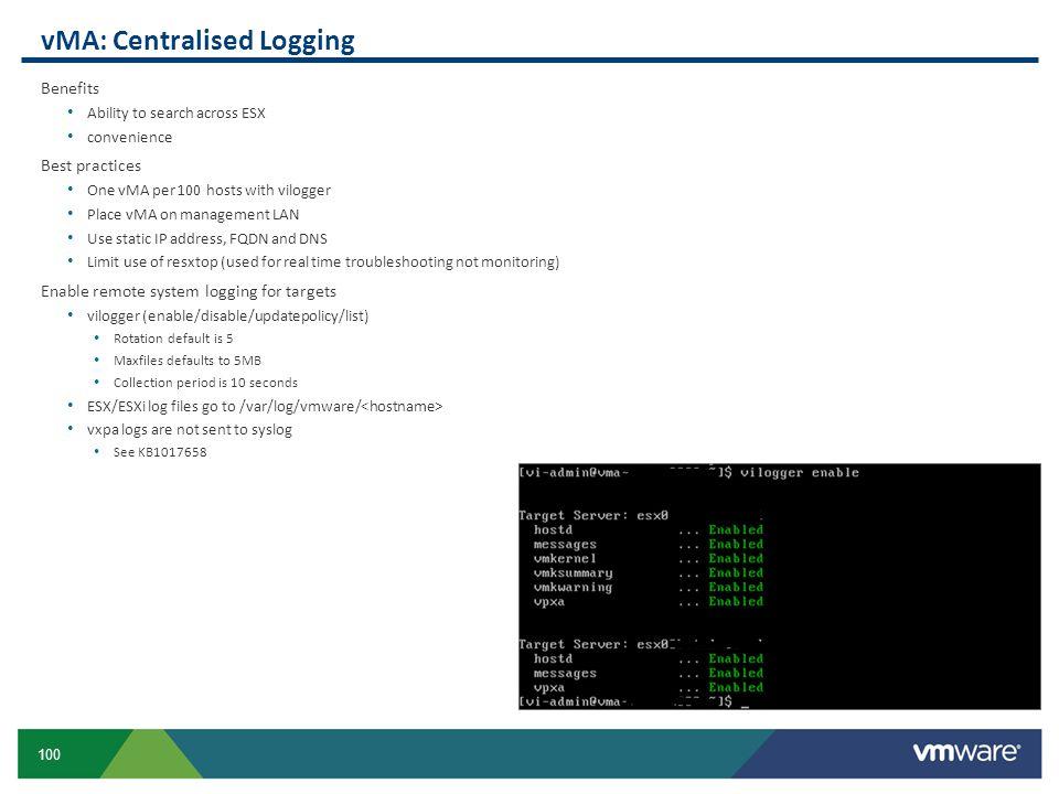 vMA: Centralised Logging