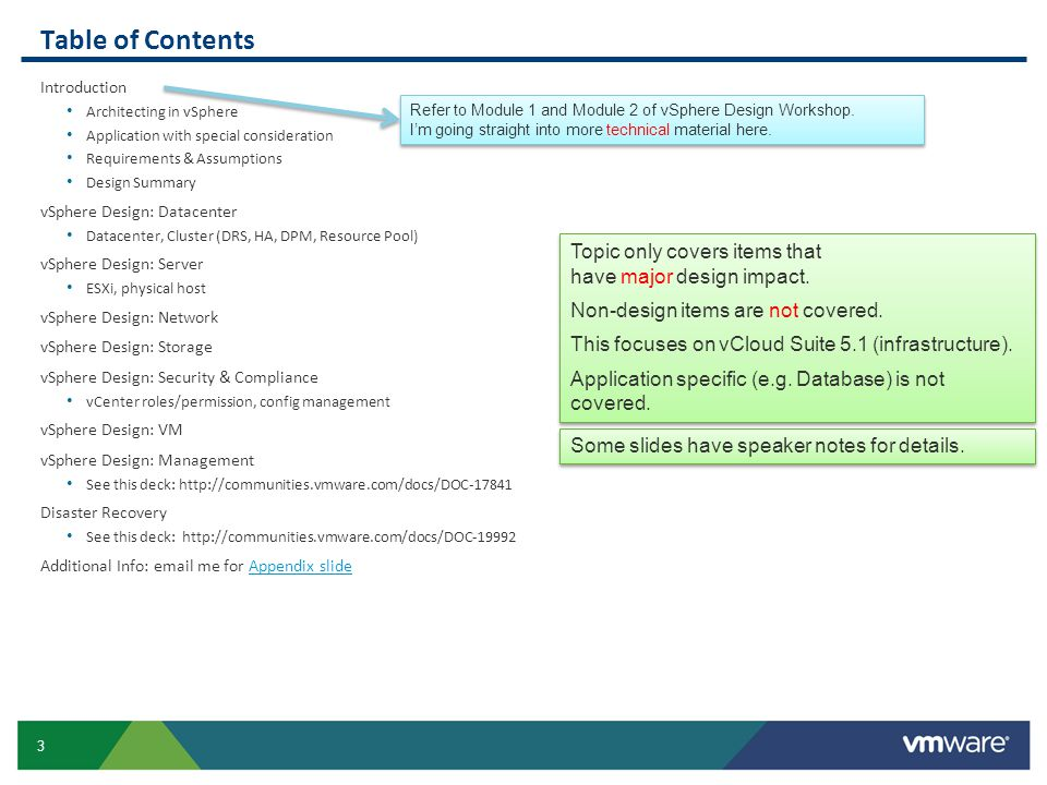 Table of Contents Introduction. Architecting in vSphere. Application with special consideration. Requirements & Assumptions.