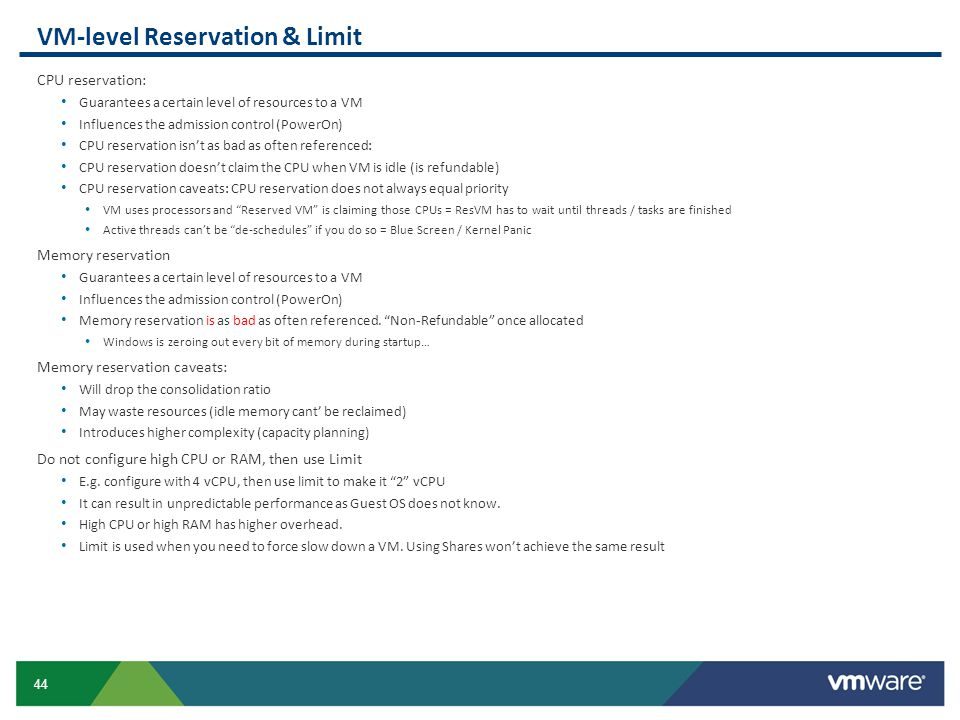 VM-level Reservation & Limit