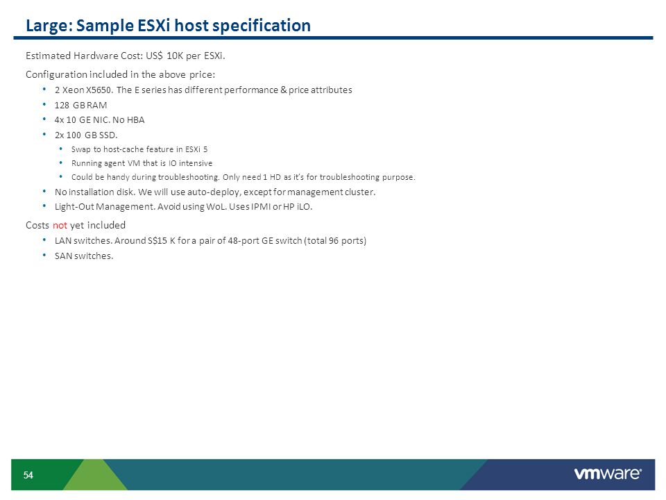 Large: Sample ESXi host specification