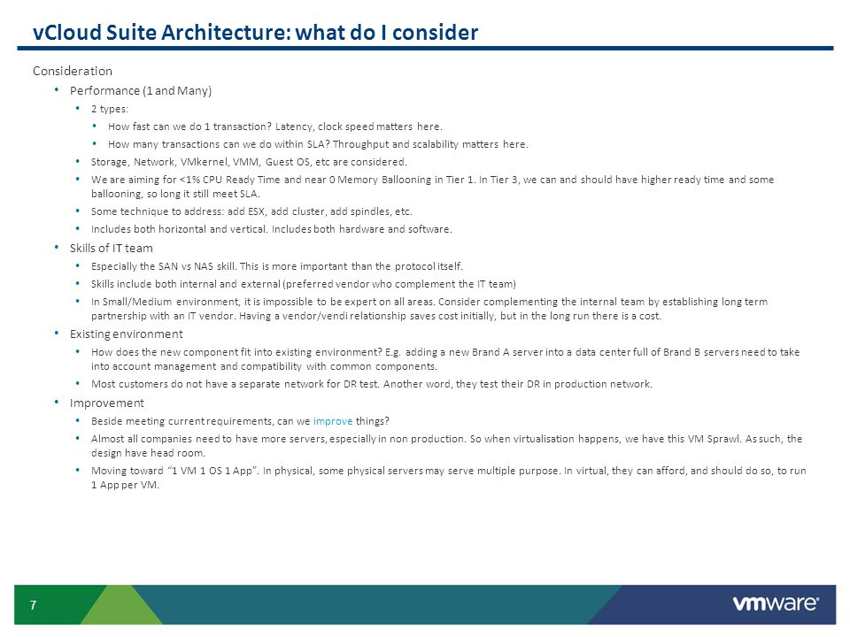 vCloud Suite Architecture: what do I consider